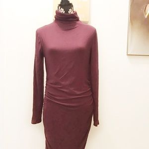 Halogen dress size L burgundy midi soft mockneck